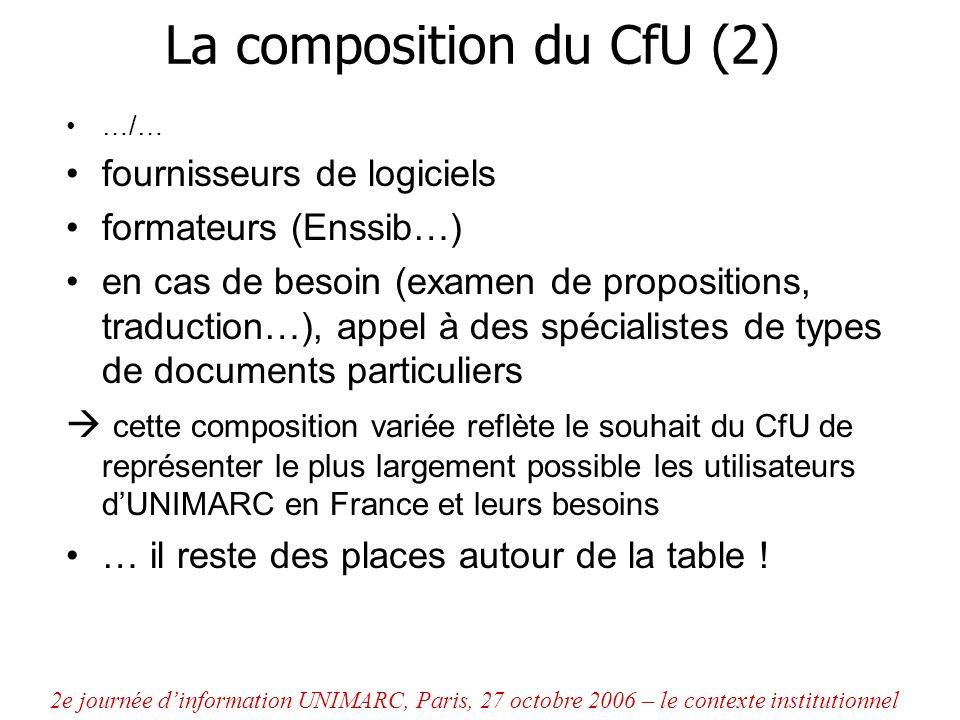 La composition du CfU (2) …/… fournisseurs de logiciels formateurs (Enssib…) en cas de besoin (examen de propositions, traduction…), appel à des spéci