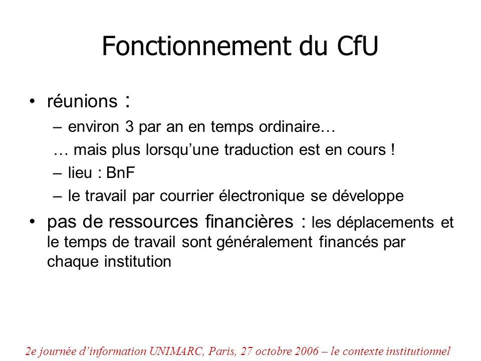 Fonctionnement du CfU réunions : –environ 3 par an en temps ordinaire… … mais plus lorsquune traduction est en cours ! –lieu : BnF –le travail par cou