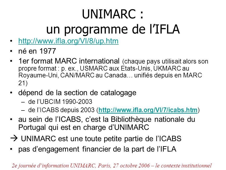 UNIMARC : un programme géré par le PUC http://www.ifla.org/VI/8/puc.htm Permanent UNIMARC Committee, formé en 1991 objectif : maintenir et faire évoluer les formats UNIMARC, en cohérence avec les standards internationaux (établir des priorités de développement, examiner les propositions dévolution, valider officiellement les modifications…) 2e journée dinformation UNIMARC, Paris, 27 octobre 2006 – le contexte institutionnel