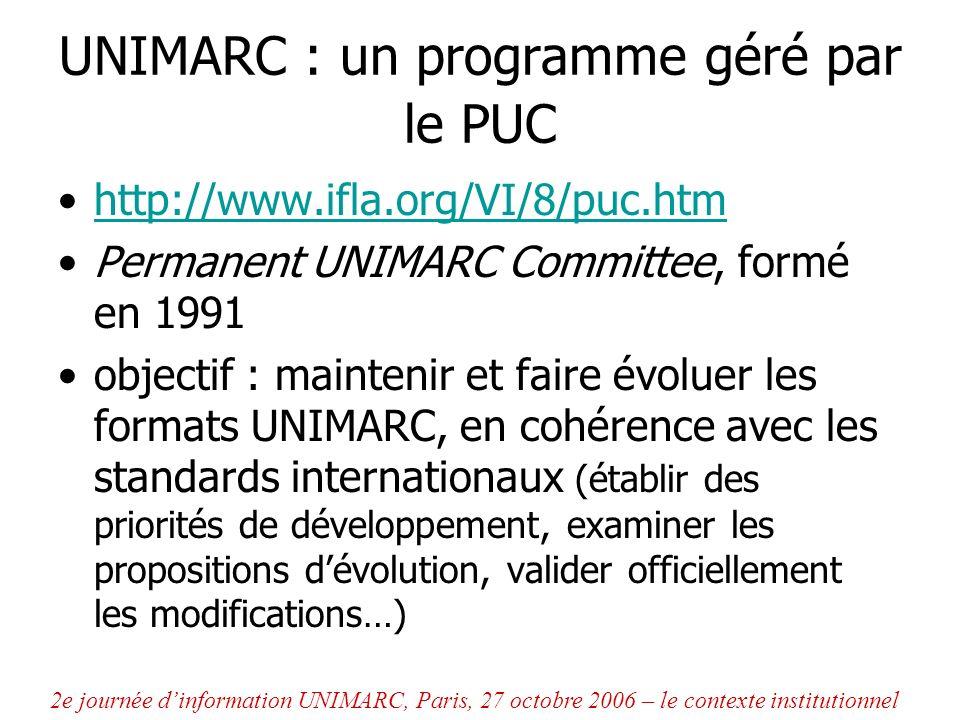 Organisation du PUC Composition : –7 à 8 membres permanents « experts en UNIMARC », représentants de divers pays utilisateurs, ou non, des formats UNIMARC –et membres « observateurs » (représentants de leur pays ou dISSN, du CERL, etc.) : pas de ressources propres : –la bibliothèque nationale du Portugal assure la logistique des réunions, négociations avec léditeur –les institutions de chaque membre du PUC subviennent aux déplacements et accordent du temps de travail 2e journée dinformation UNIMARC, Paris, 27 octobre 2006 – le contexte institutionnel