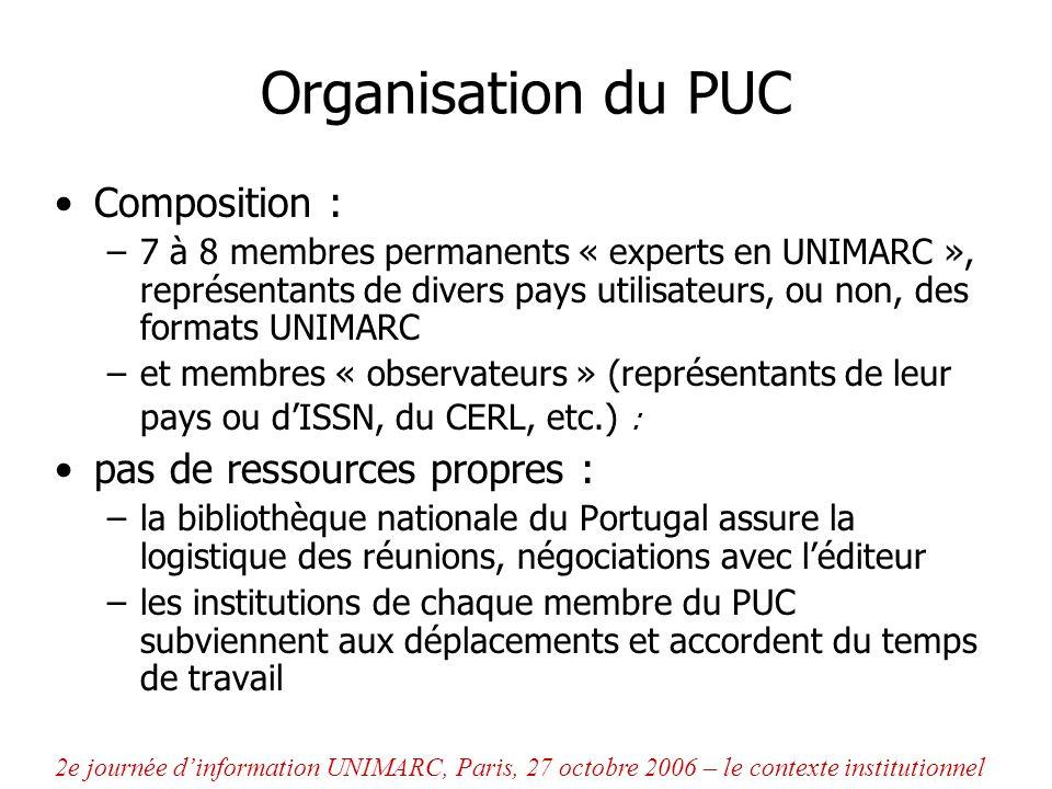 Organisation du PUC Composition : –7 à 8 membres permanents « experts en UNIMARC », représentants de divers pays utilisateurs, ou non, des formats UNI