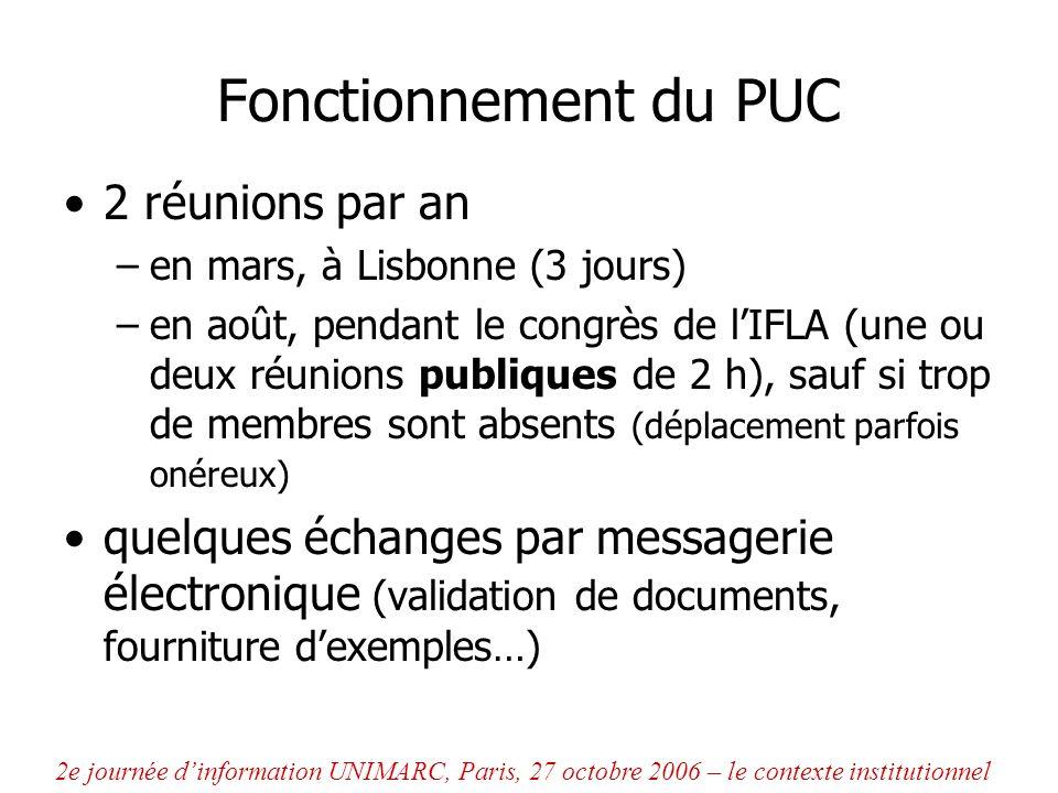 Le travail du PUC : développement dUNIMARC 4 formats déchange de données –dont 2 largement utilisés : Bibliographique et Autorités –Classification (2001) et Exemplaires (2004) des « Guidelines » par type de ressource bibliographique, pour aider à linterprétation et lapplication des formats une « traduction » en XML du format bibliographique 2e journée dinformation UNIMARC, Paris, 27 octobre 2006 – le contexte institutionnel