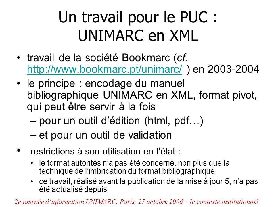 Un travail pour le PUC : UNIMARC en XML travail de la société Bookmarc (cf. http://www.bookmarc.pt/unimarc/ ) en 2003-2004 http://www.bookmarc.pt/unim