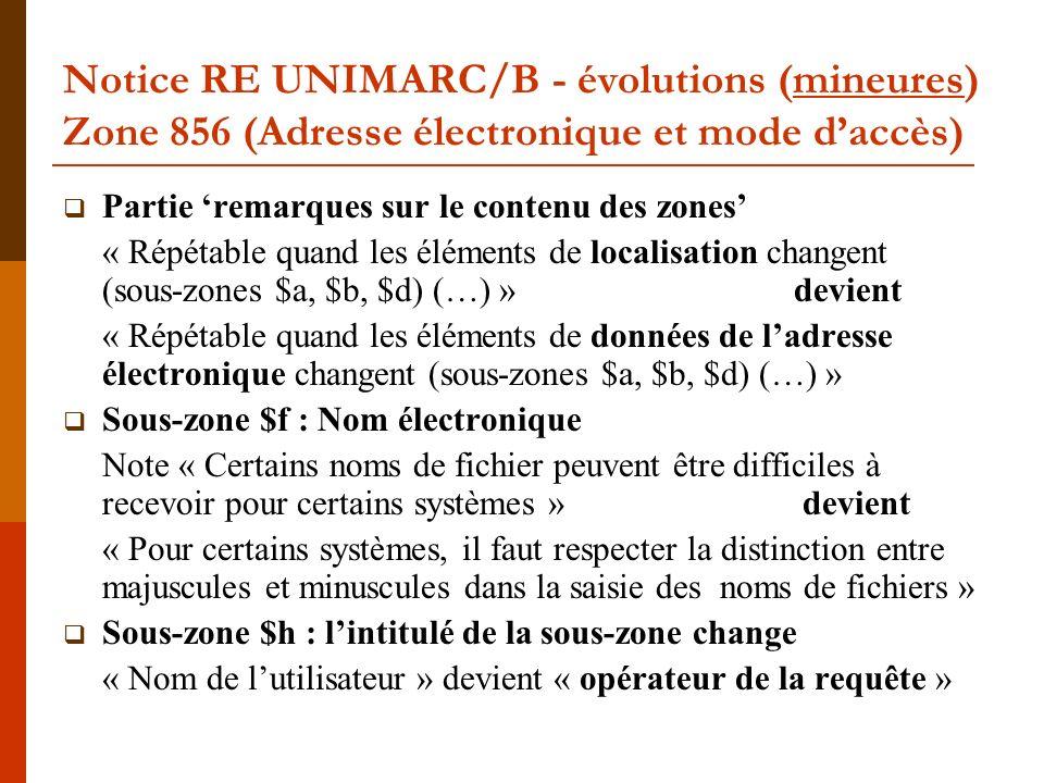 Notice RE UNIMARC/B - évolutions (mineures) Zone 856 (Adresse électronique et mode daccès) Partie remarques sur le contenu des zones « Répétable quand les éléments de localisation changent (sous-zones $a, $b, $d) (…) » devient « Répétable quand les éléments de données de ladresse électronique changent (sous-zones $a, $b, $d) (…) » Sous-zone $f : Nom électronique Note « Certains noms de fichier peuvent être difficiles à recevoir pour certains systèmes » devient « Pour certains systèmes, il faut respecter la distinction entre majuscules et minuscules dans la saisie des noms de fichiers » Sous-zone $h : lintitulé de la sous-zone change « Nom de lutilisateur » devient « opérateur de la requête »