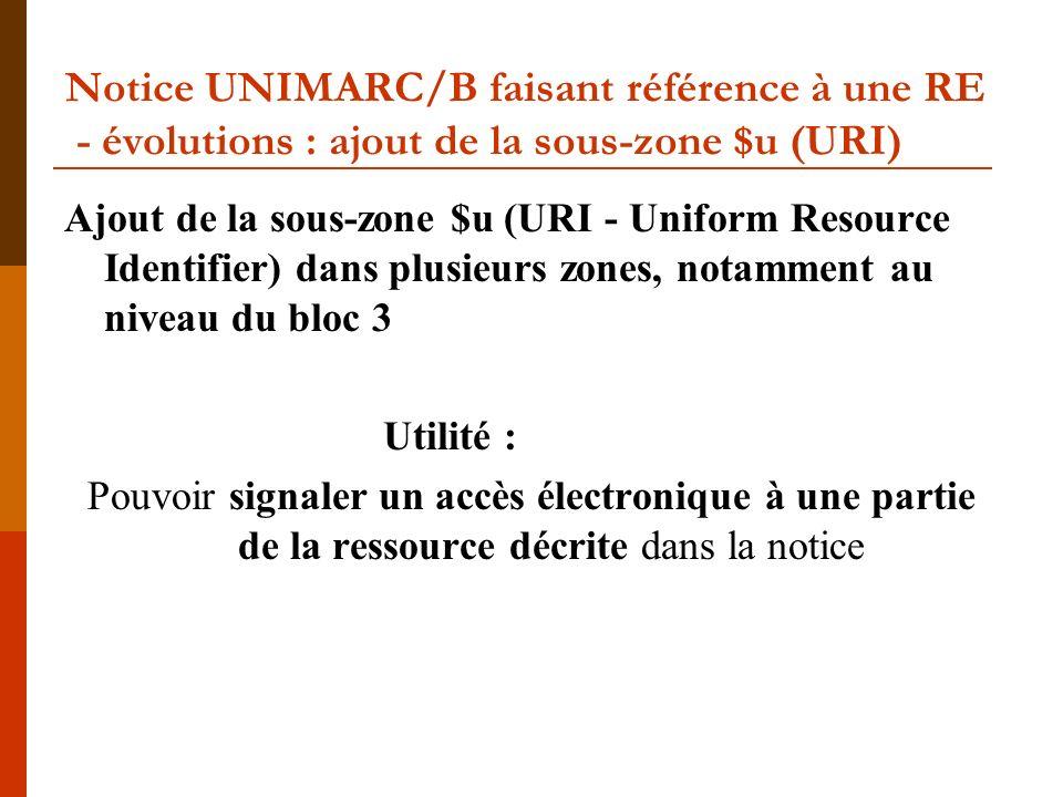 Notice UNIMARC/B faisant référence à une RE - évolutions : ajout de la sous-zone $u (URI) Ajout de la sous-zone $u (URI - Uniform Resource Identifier)