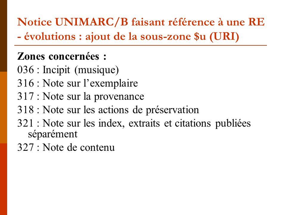 Notice UNIMARC/B faisant référence à une RE - évolutions : ajout de la sous-zone $u (URI) Zones concernées : 036 : Incipit (musique) 316 : Note sur le