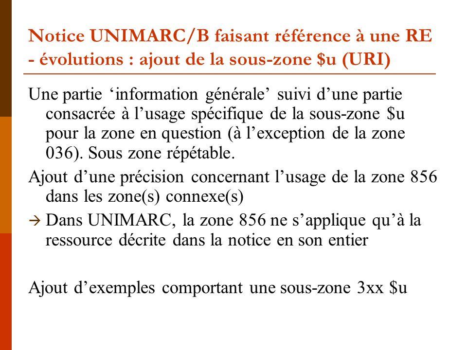 Notice UNIMARC/B faisant référence à une RE - évolutions : ajout de la sous-zone $u (URI) Une partie information générale suivi dune partie consacrée à lusage spécifique de la sous-zone $u pour la zone en question (à lexception de la zone 036).
