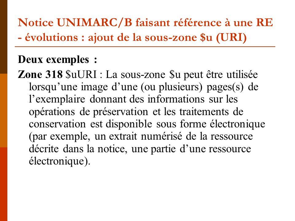 Notice UNIMARC/B faisant référence à une RE - évolutions : ajout de la sous-zone $u (URI) Deux exemples : Zone 318 $uURI : La sous-zone $u peut être u