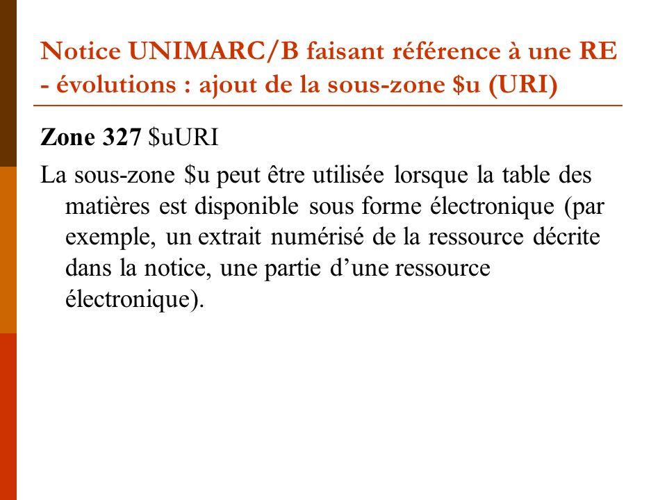 Notice UNIMARC/B faisant référence à une RE - évolutions : ajout de la sous-zone $u (URI) Zone 327 $uURI La sous-zone $u peut être utilisée lorsque la table des matières est disponible sous forme électronique (par exemple, un extrait numérisé de la ressource décrite dans la notice, une partie dune ressource électronique).