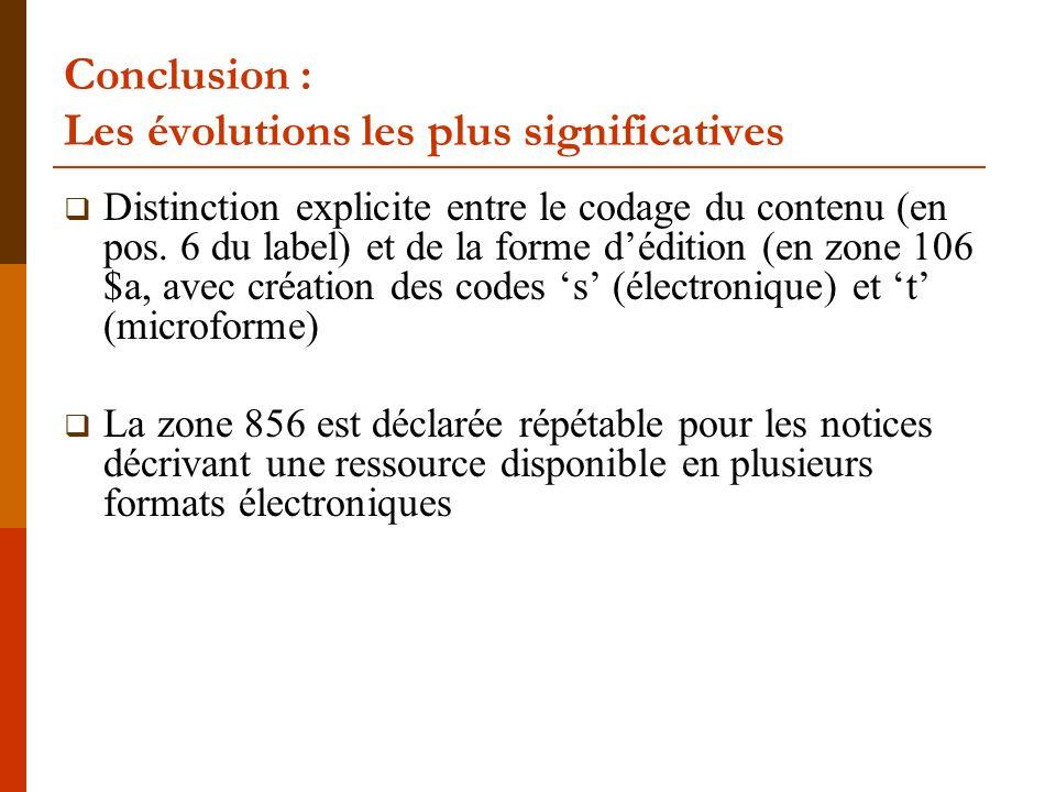 Conclusion : Les évolutions les plus significatives Distinction explicite entre le codage du contenu (en pos.