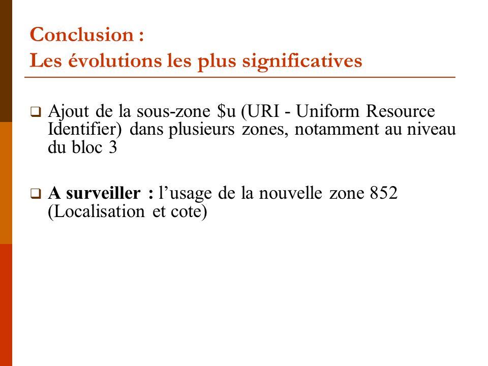 Conclusion : Les évolutions les plus significatives Ajout de la sous-zone $u (URI - Uniform Resource Identifier) dans plusieurs zones, notamment au niveau du bloc 3 A surveiller : lusage de la nouvelle zone 852 (Localisation et cote)