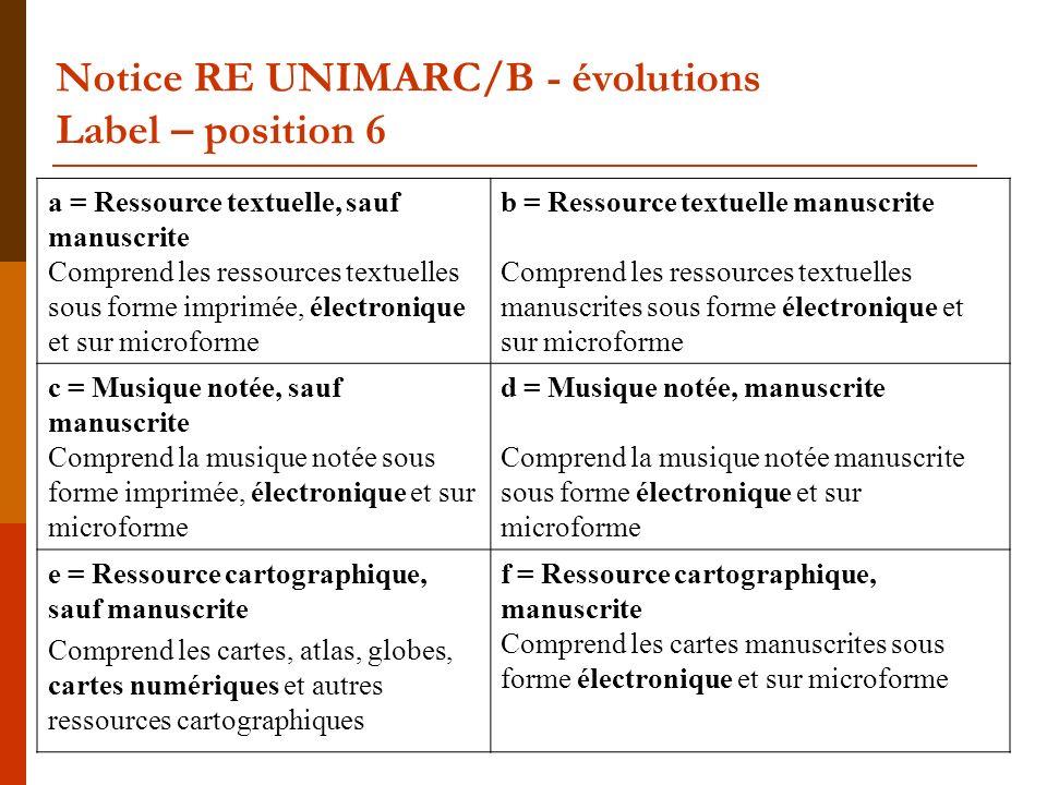 Notice RE UNIMARC/B – évolutions Zone 856 (Adresse électronique et mode daccès) Exemple 29 2001#$aISMN$bElectronic resource$eInternational standard music number$eusers manual$f [International ISMN agency] 8564#$qhtml$uhttp://www.ismn- international.org/manual.html 8564#$qpdf $uhttp://www.ismn- international.org/manual.pdf Le manuel ISMN est disponible aux formats html et pdf.