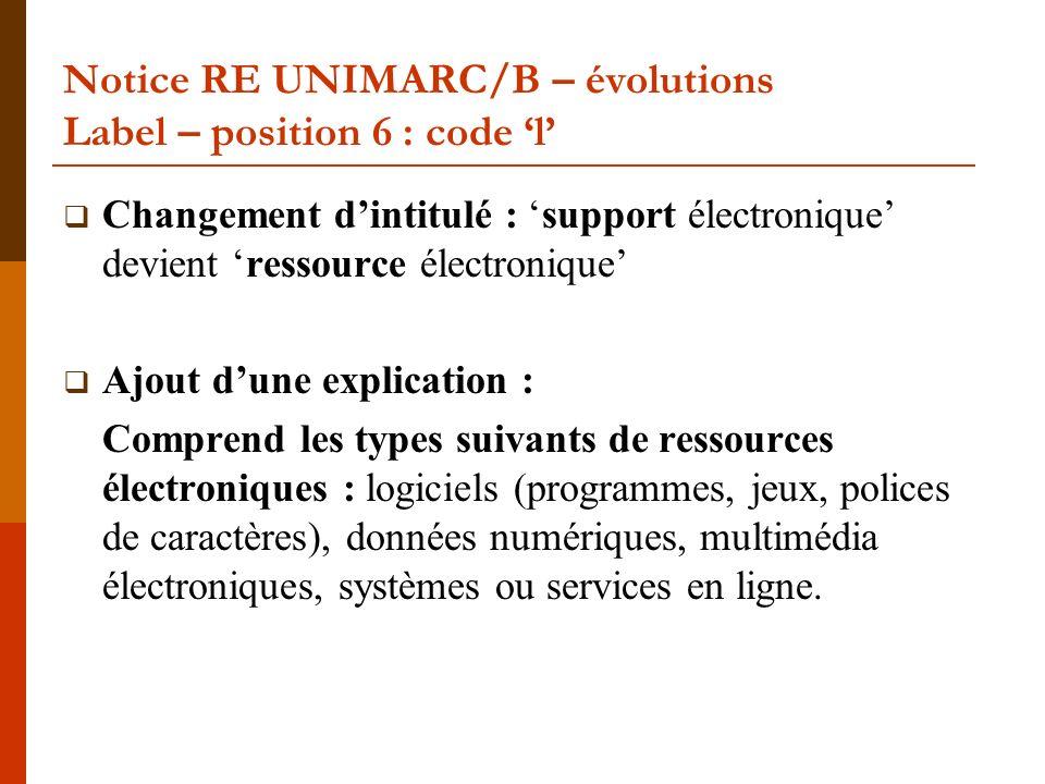 Notice RE UNIMARC/B – évolutions Label – position 6 : code l Changement dintitulé : support électronique devient ressource électronique Ajout dune exp