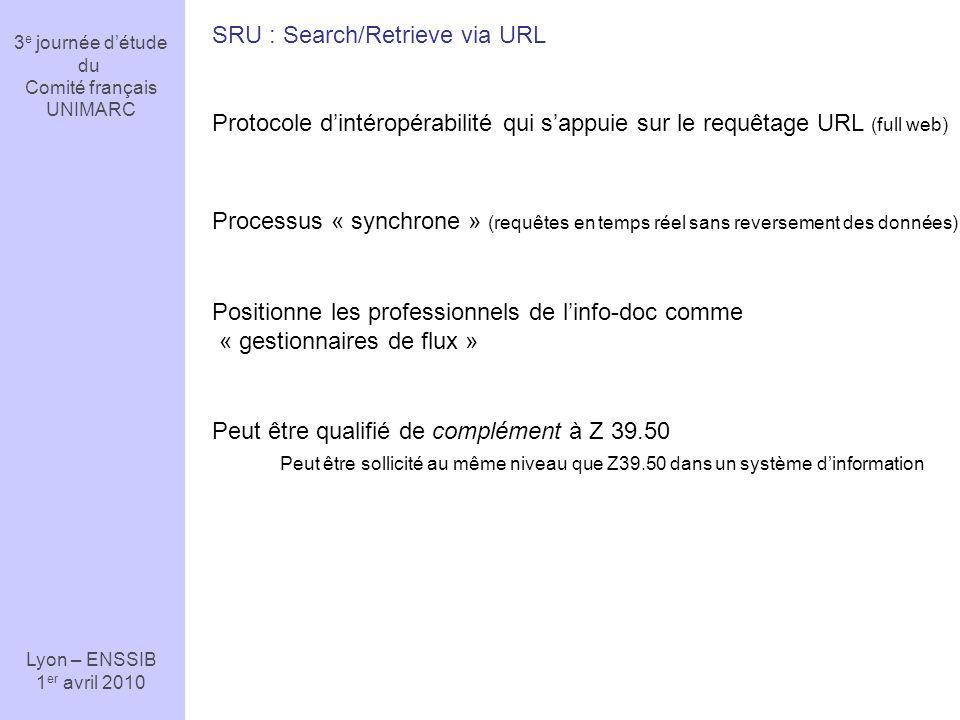 3 e journée détude du Comité français UNIMARC Lyon – ENSSIB 1 er avril 2010 SRU : Search/Retrieve via URL Protocole dintéropérabilité qui sappuie sur