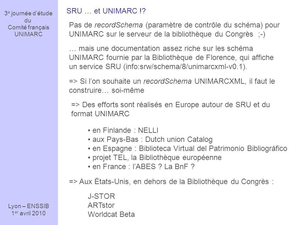 3 e journée détude du Comité français UNIMARC Lyon – ENSSIB 1 er avril 2010 SRU … et UNIMARC !? Pas de recordSchema (paramètre de contrôle du schéma)