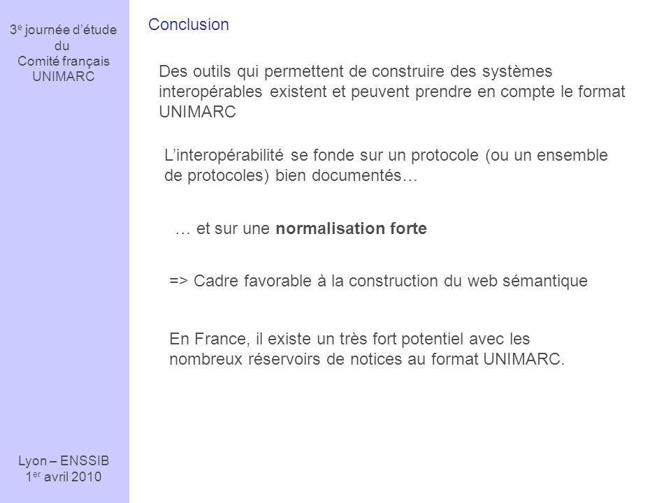 3 e journée détude du Comité français UNIMARC Lyon – ENSSIB 1 er avril 2010 Conclusion Des outils qui permettent de construire des systèmes interopéra