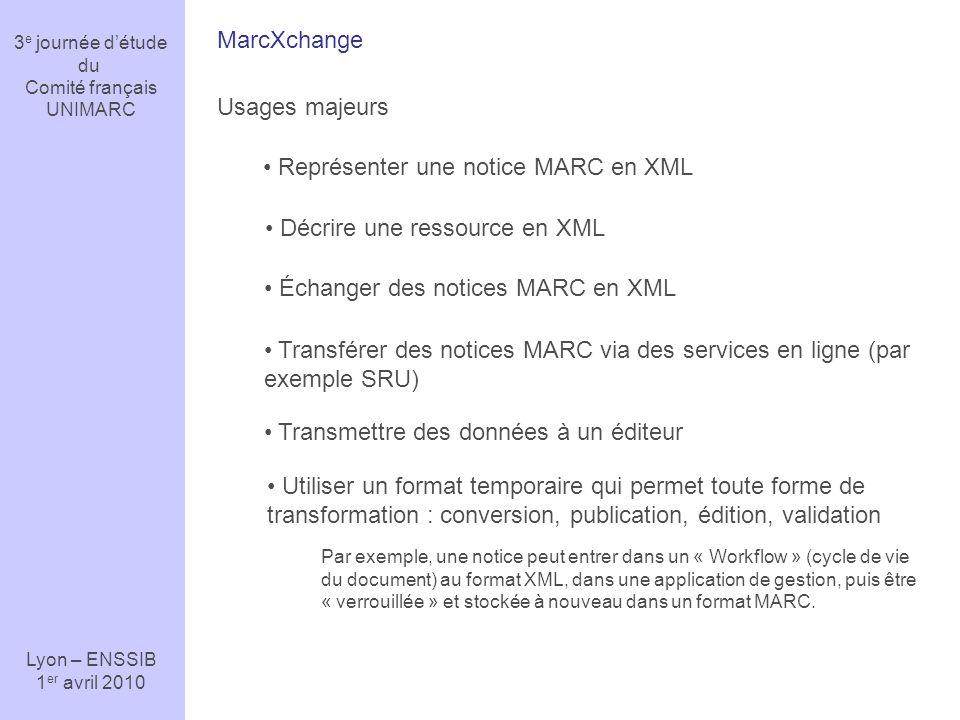 3 e journée détude du Comité français UNIMARC Lyon – ENSSIB 1 er avril 2010 « Faiblesse » ou différence majeure avec ISO 2709 : le contrôle des données La validation du contenu des notices MARC nest pas assurée par le format lui-même, mais par un logiciel dédié à cet usage.