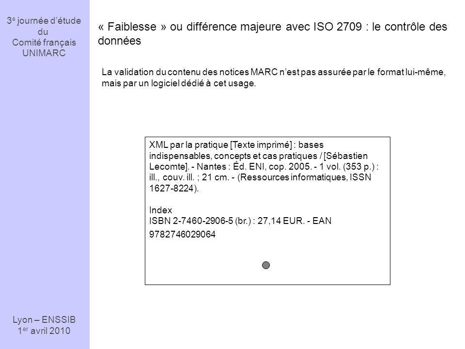 3 e journée détude du Comité français UNIMARC Lyon – ENSSIB 1 er avril 2010 1.1 415 info:srw/schema/1/marcxml-v1.1 xml #Début de la notice 01100nam a2200325 a 4500 1601305 19950124084445.9 940127s1993 quca b 000 0 fre (DLC) 94110254 […] Les Accros du langage / sous la direction de Michèle Nevert.