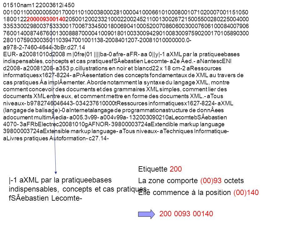 3 e journée détude du Comité français UNIMARC Lyon – ENSSIB 1 er avril 2010 Le précédent contrôle appliqué par le répertoire ISO 2709 nexiste pas avec MarcXchange (absent du format), il faut le créer via lapplicatif, et le recalculer à chaque conversion vers ISO 27.09… MarcXchange : exemple 01510nam1 22003612i 450 […] XML par la pratique bases indispensables, concepts et cas pratiques SÂebastien Lecomte […] Le label des notices est traité comme un simple chaîne