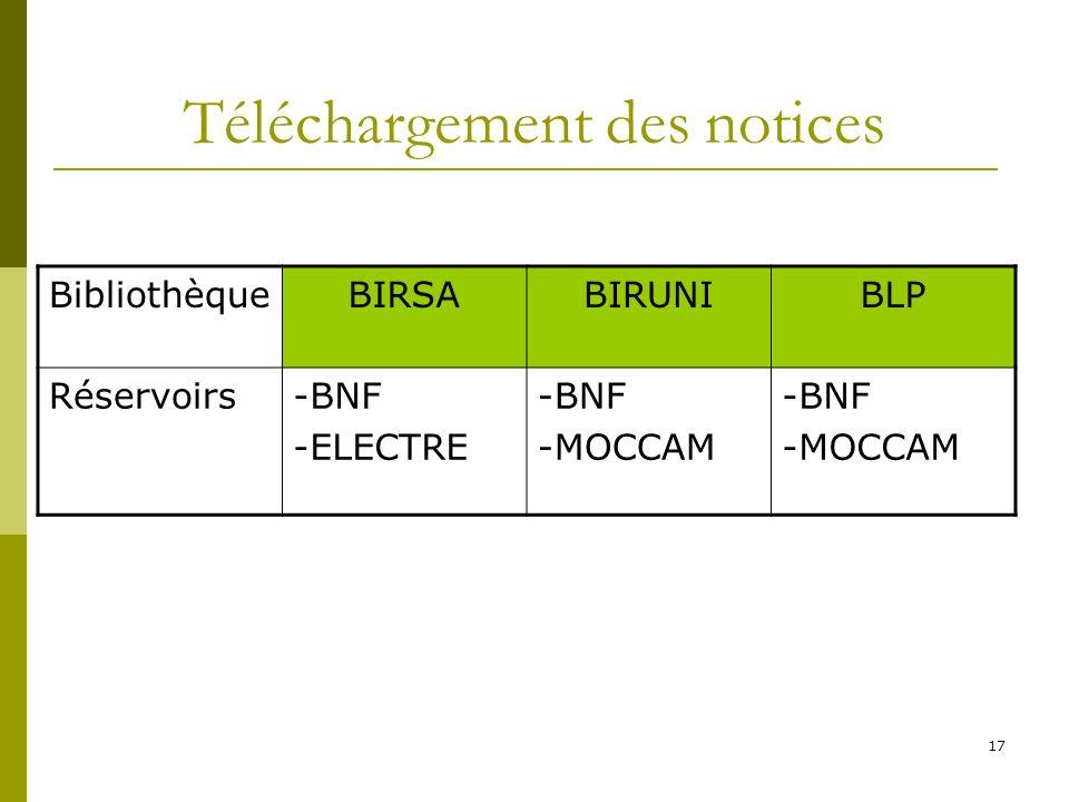 17 Téléchargement des notices BibliothèqueBIRSABIRUNIBLP Réservoirs-BNF -ELECTRE -BNF -MOCCAM -BNF -MOCCAM