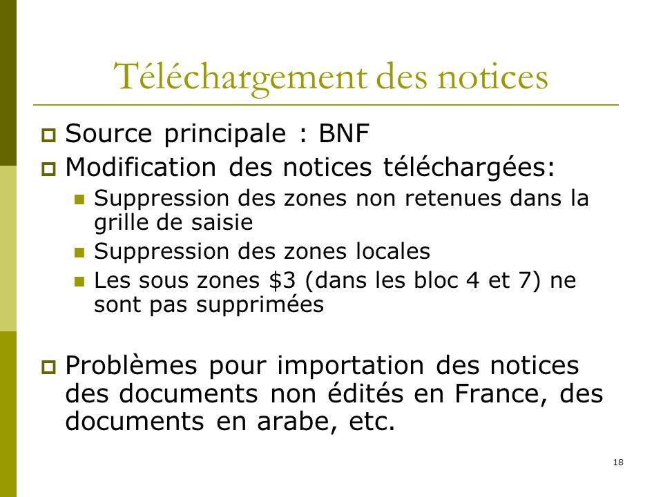 18 Téléchargement des notices Source principale : BNF Modification des notices téléchargées: Suppression des zones non retenues dans la grille de sais