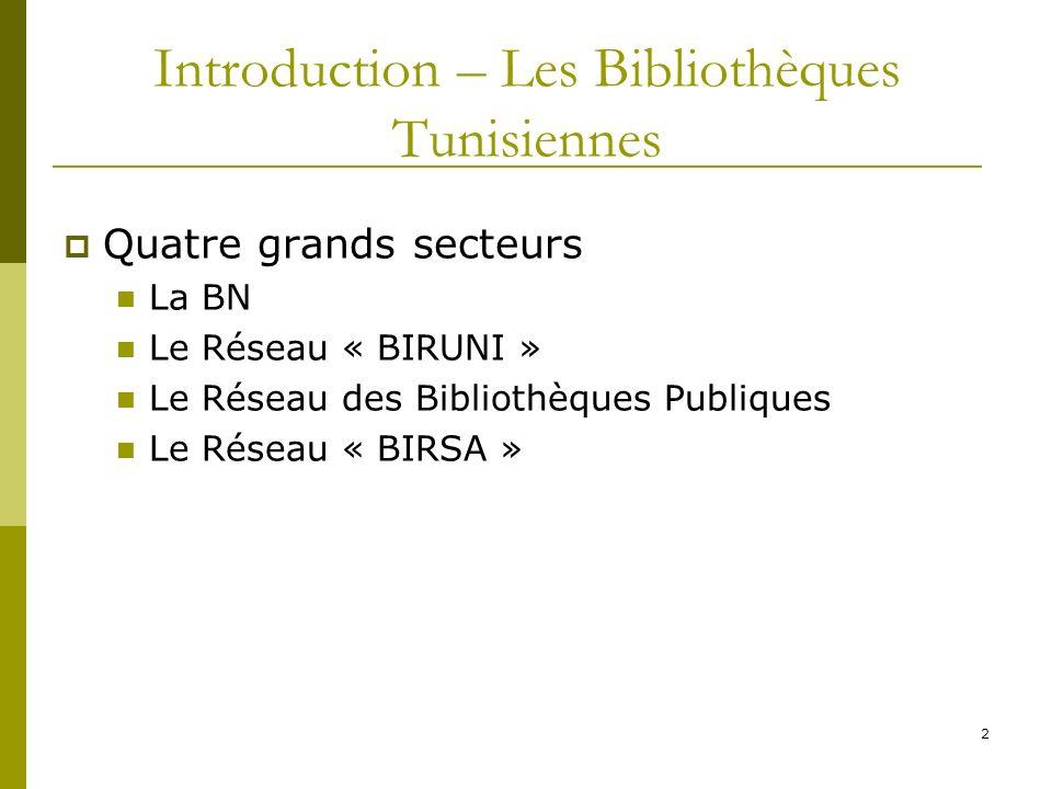 2 Introduction – Les Bibliothèques Tunisiennes Quatre grands secteurs La BN Le Réseau « BIRUNI » Le Réseau des Bibliothèques Publiques Le Réseau « BIR