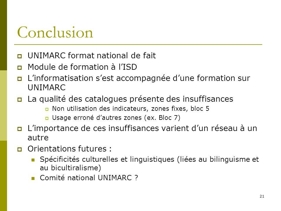 21 Conclusion UNIMARC format national de fait Module de formation à lISD Linformatisation sest accompagnée dune formation sur UNIMARC La qualité des c
