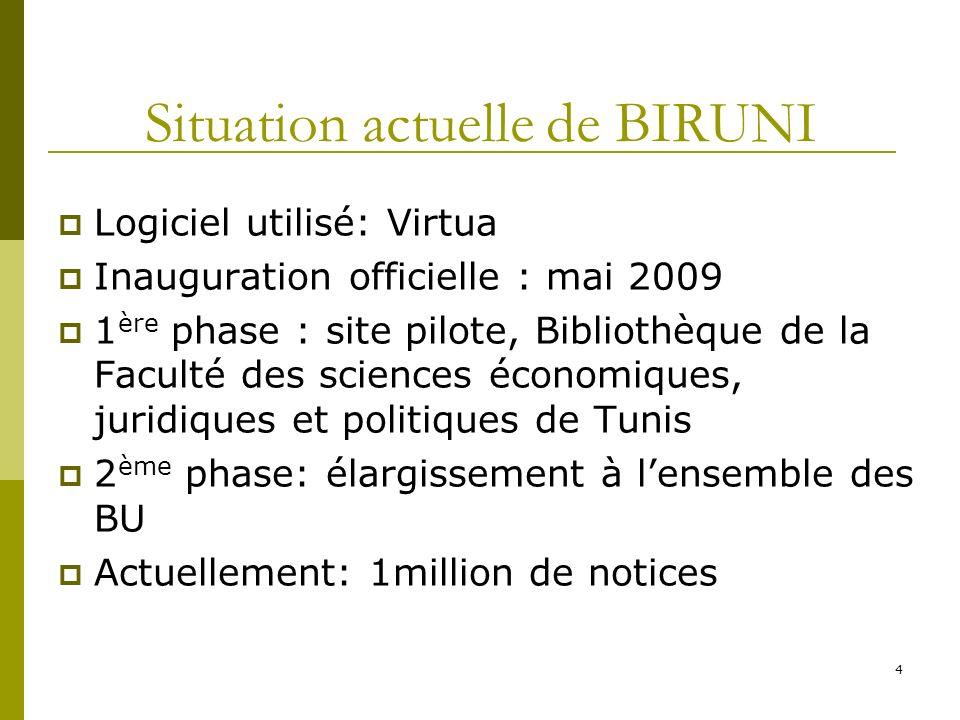 4 Situation actuelle de BIRUNI Logiciel utilisé: Virtua Inauguration officielle : mai 2009 1 ère phase : site pilote, Bibliothèque de la Faculté des s