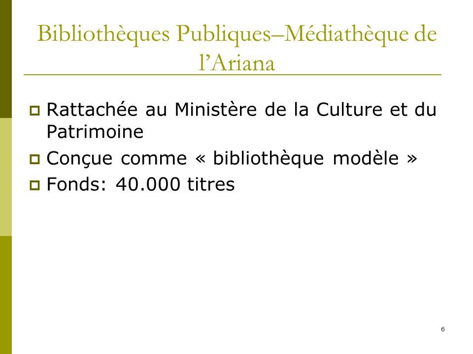 6 Bibliothèques Publiques–Médiathèque de lAriana Rattachée au Ministère de la Culture et du Patrimoine Conçue comme « bibliothèque modèle » Fonds: 40.
