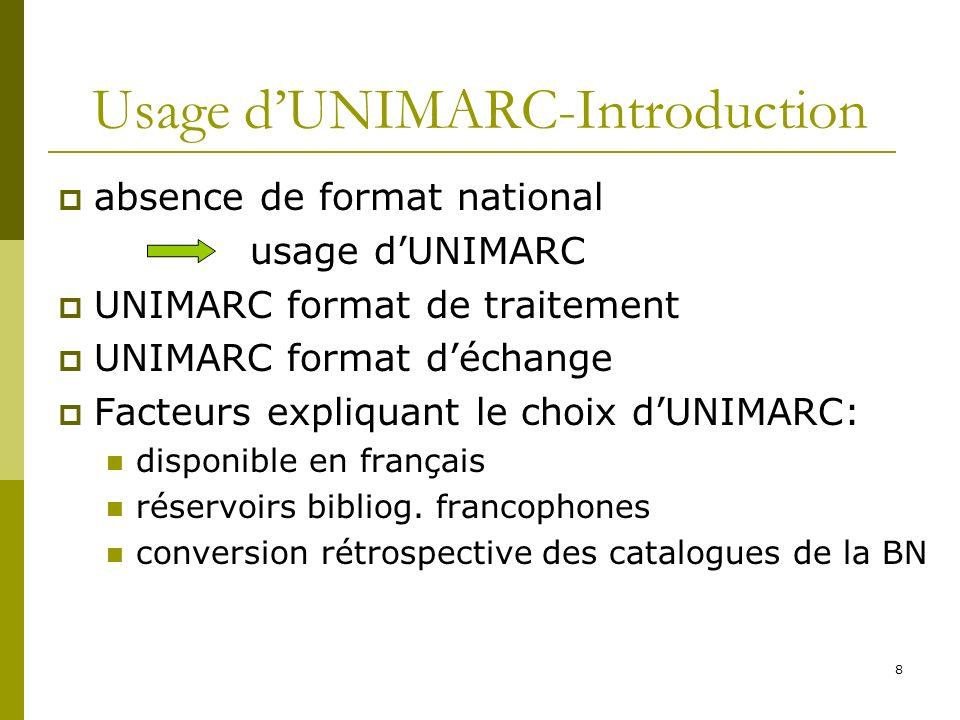8 Usage dUNIMARC-Introduction absence de format national usage dUNIMARC UNIMARC format de traitement UNIMARC format déchange Facteurs expliquant le ch