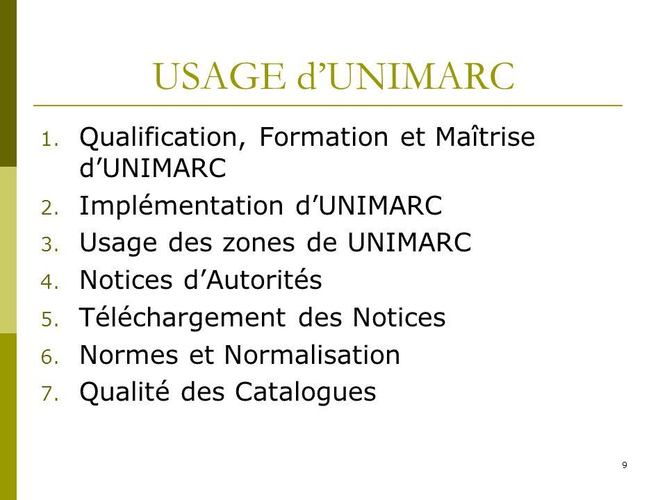 9 USAGE dUNIMARC 1. Qualification, Formation et Maîtrise dUNIMARC 2. Implémentation dUNIMARC 3. Usage des zones de UNIMARC 4. Notices dAutorités 5. Té