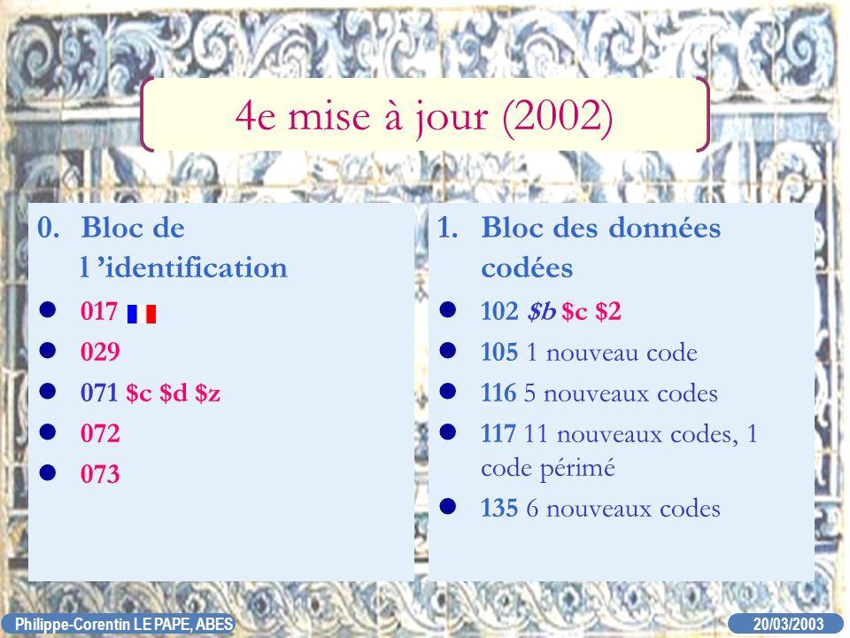 20/03/2003 Philippe-Corentin LE PAPE, ABES 4e mise à jour (2002) 0. Bloc de l identification 017 029 071 $c $d $z 072 073 1. Bloc des données codées 1