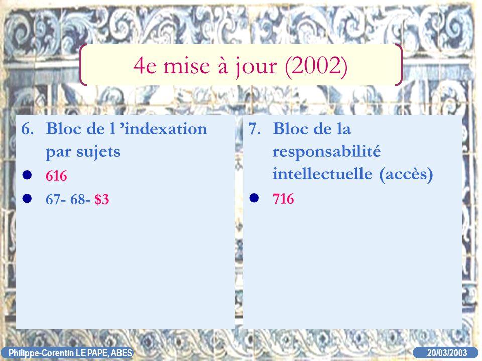 20/03/2003 Philippe-Corentin LE PAPE, ABES 7. Bloc de la responsabilité intellectuelle (accès) 716 4e mise à jour (2002) 6. Bloc de l indexation par s