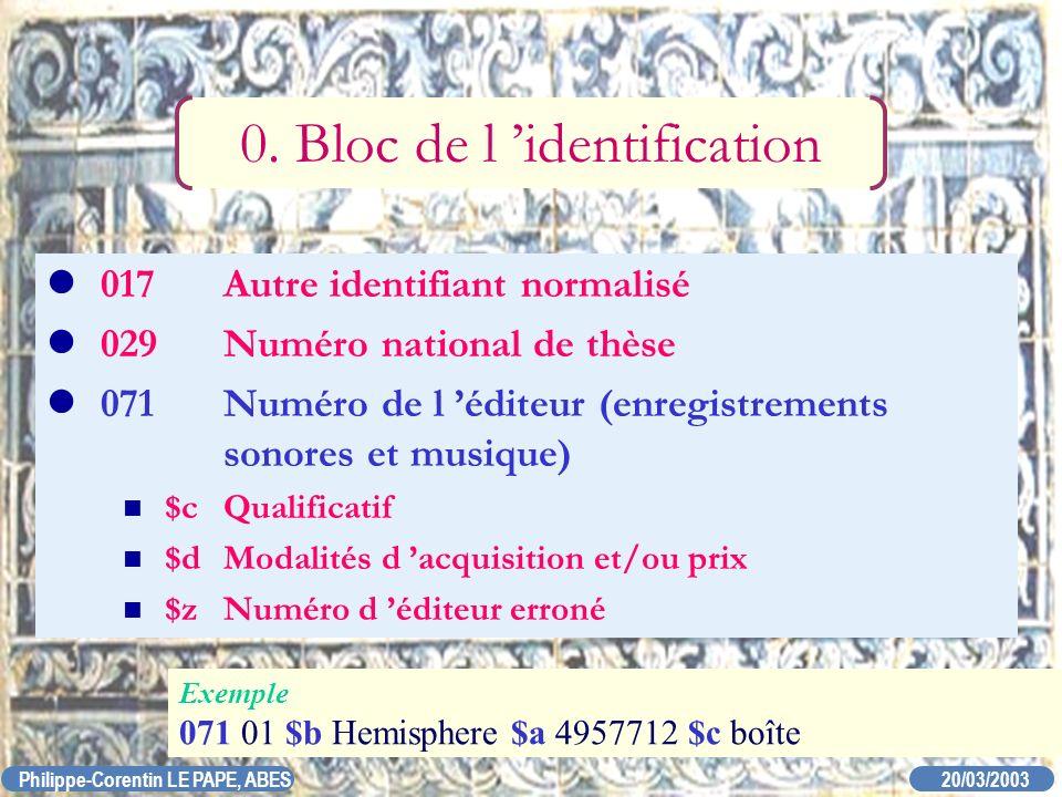 20/03/2003 Philippe-Corentin LE PAPE, ABES 017Autre identifiant normalisé 029Numéro national de thèse 071Numéro de l éditeur (enregistrements sonores