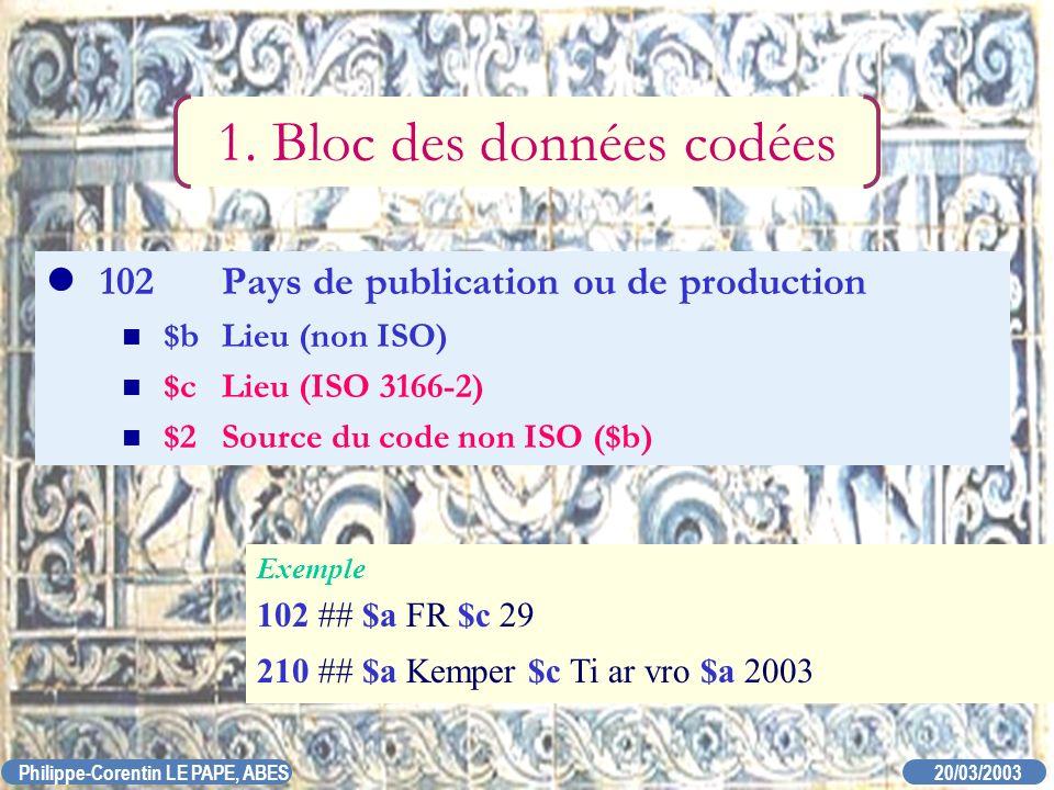 20/03/2003 Philippe-Corentin LE PAPE, ABES 102Pays de publication ou de production $bLieu (non ISO) $cLieu (ISO 3166-2) $2Source du code non ISO ($b)