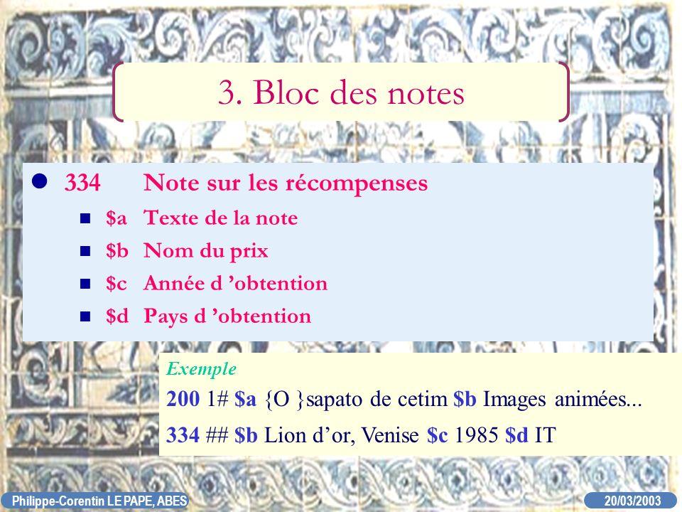 20/03/2003 Philippe-Corentin LE PAPE, ABES 334Note sur les récompenses $aTexte de la note $bNom du prix $cAnnée d obtention $dPays d obtention 3. Bloc