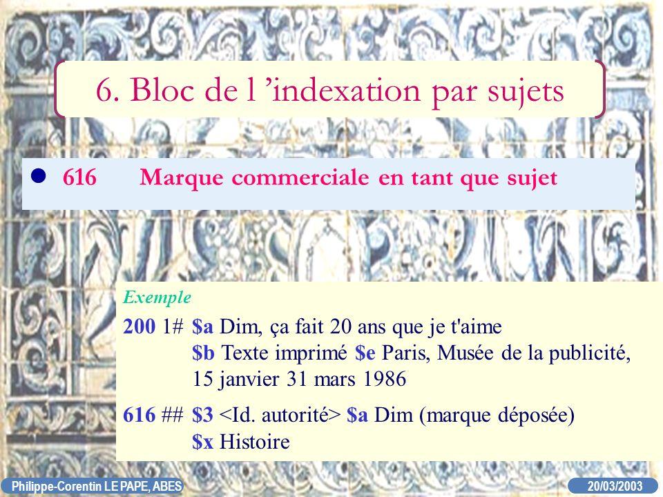 20/03/2003 Philippe-Corentin LE PAPE, ABES 616Marque commerciale en tant que sujet 6. Bloc de l indexation par sujets Exemple 200 1#$a Dim, ça fait 20