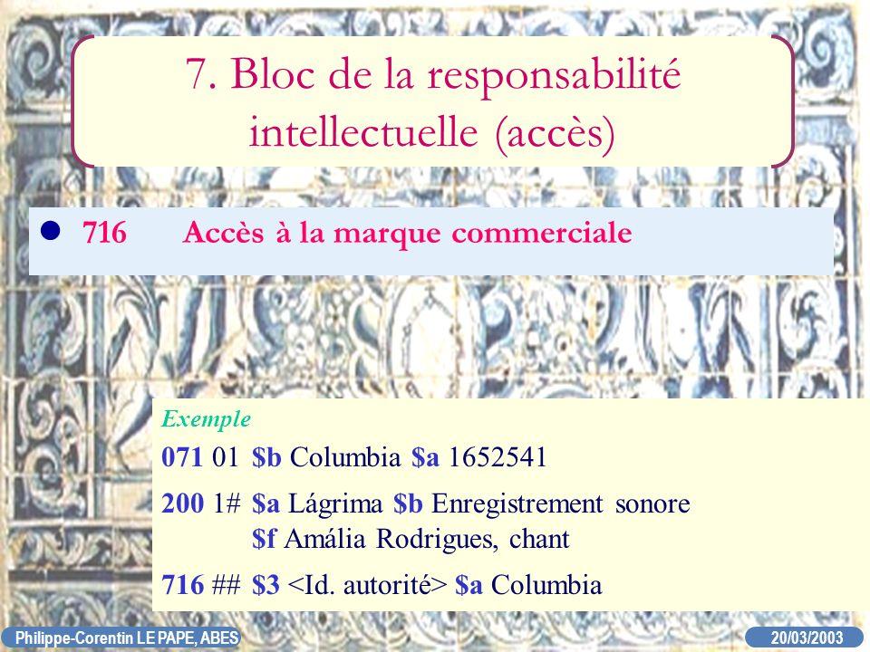 20/03/2003 Philippe-Corentin LE PAPE, ABES 716Accès à la marque commerciale 7. Bloc de la responsabilité intellectuelle (accès) Exemple 071 01$b Colum