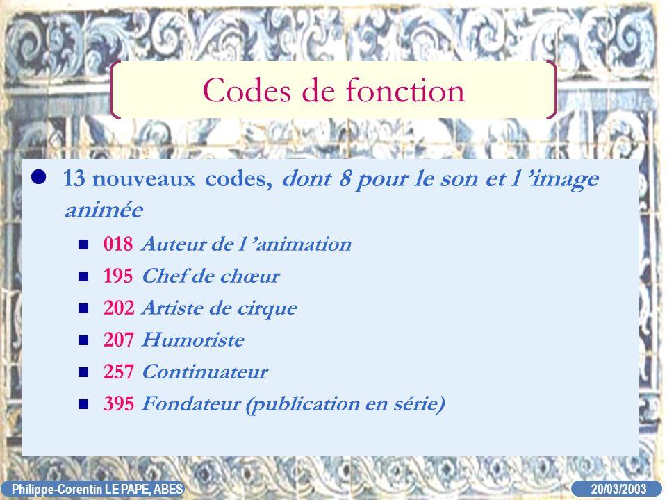 20/03/2003 Philippe-Corentin LE PAPE, ABES Codes de fonction 13 nouveaux codes, dont 8 pour le son et l image animée 018Auteur de l animation 195Chef