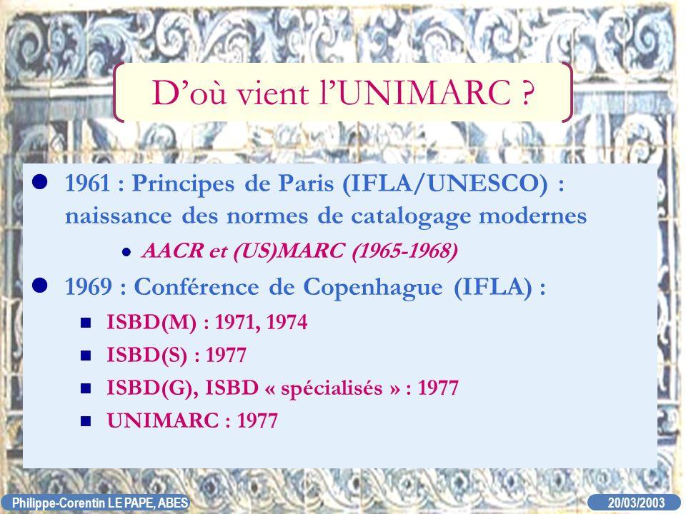 20/03/2003 Philippe-Corentin LE PAPE, ABES Doù vient lUNIMARC ? 1961 : Principes de Paris (IFLA/UNESCO) : naissance des normes de catalogage modernes