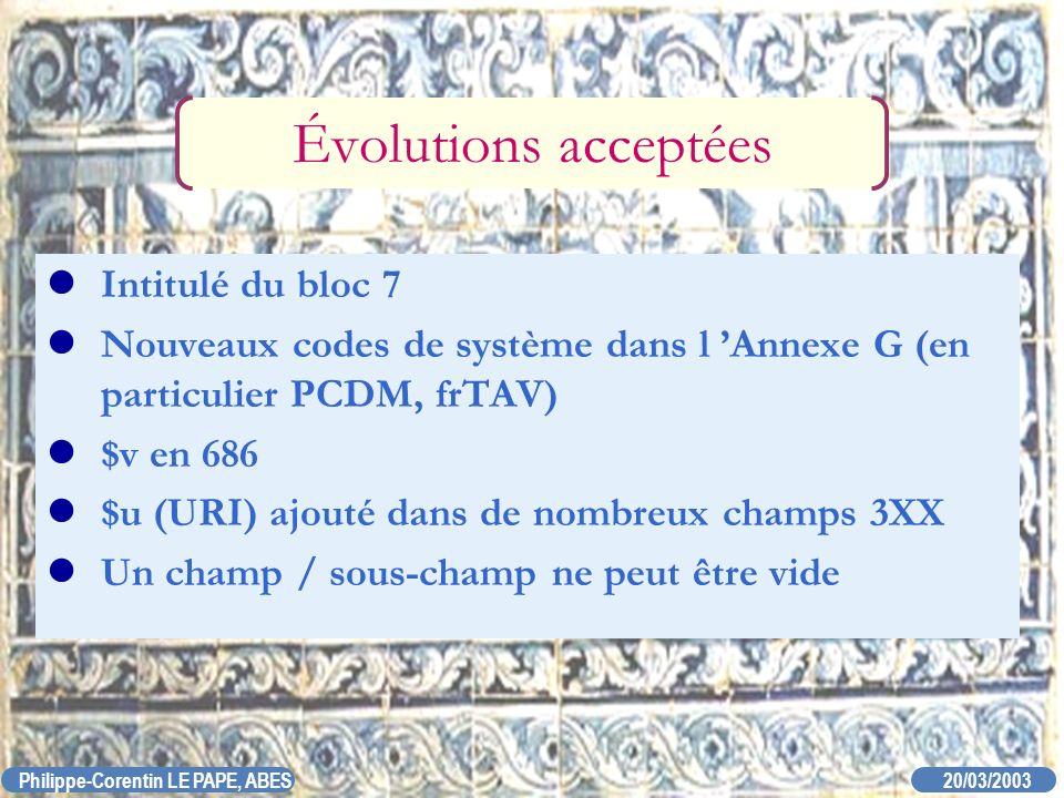 20/03/2003 Philippe-Corentin LE PAPE, ABES Évolutions acceptées Intitulé du bloc 7 Nouveaux codes de système dans l Annexe G (en particulier PCDM, frT