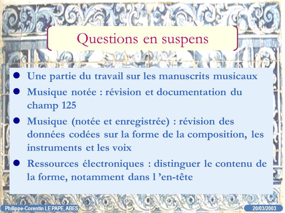 20/03/2003 Philippe-Corentin LE PAPE, ABES Questions en suspens Une partie du travail sur les manuscrits musicaux Musique notée : révision et document