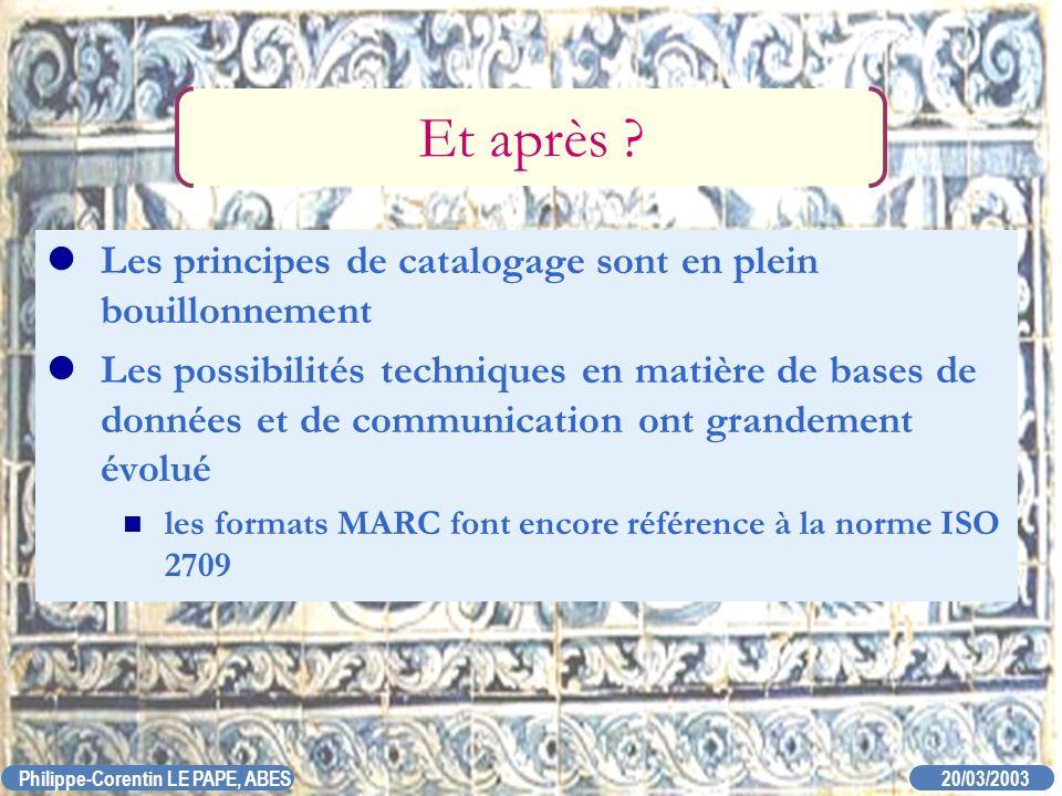 20/03/2003 Philippe-Corentin LE PAPE, ABES Et après ? Les principes de catalogage sont en plein bouillonnement Les possibilités techniques en matière