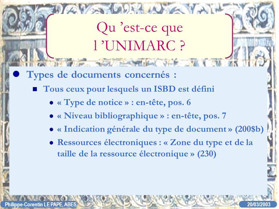 20/03/2003 Philippe-Corentin LE PAPE, ABES Qu est-ce que l UNIMARC ? Types de documents concernés : Tous ceux pour lesquels un ISBD est défini « Type