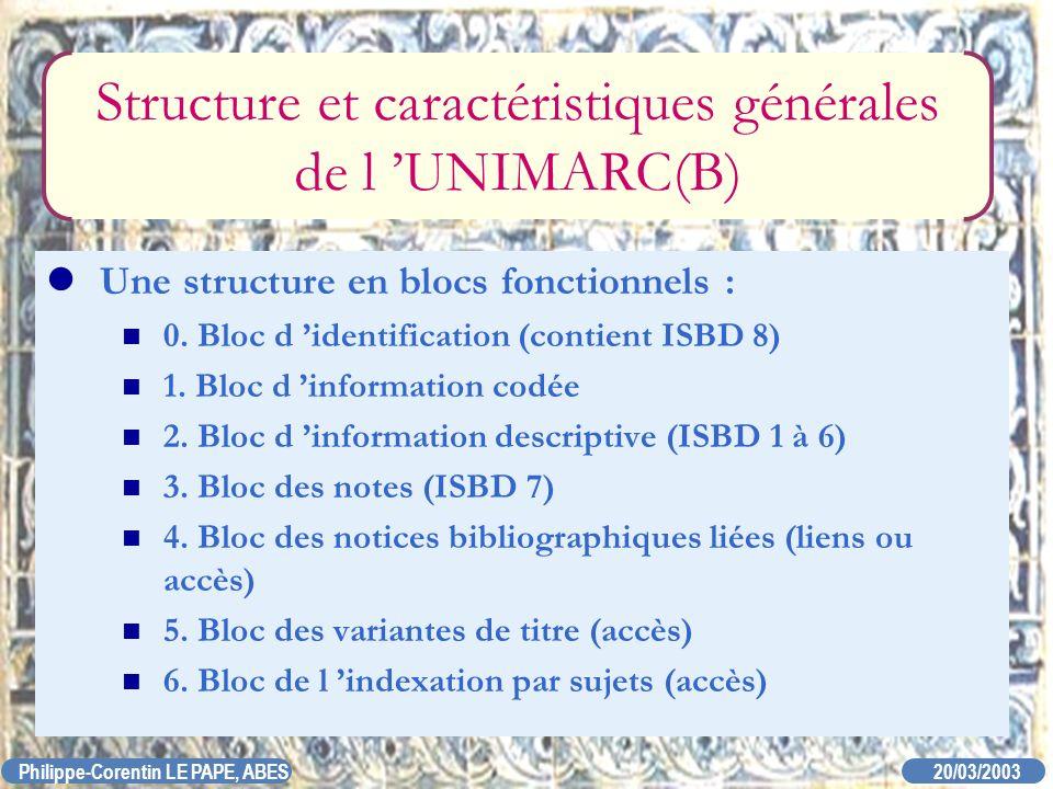 20/03/2003 Philippe-Corentin LE PAPE, ABES Structure et caractéristiques générales de l UNIMARC(B) Une structure en blocs fonctionnels : 0. Bloc d ide