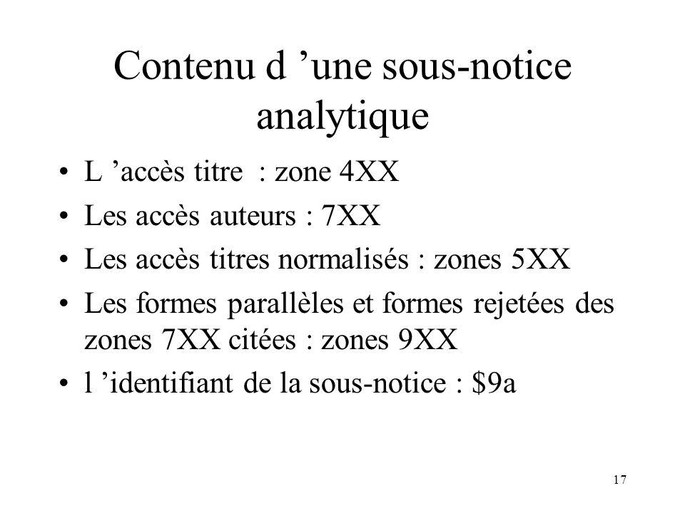 16 Traitement des sous-notices analytiques