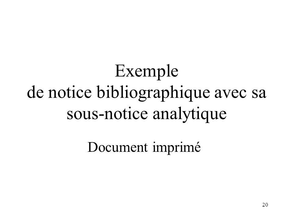 19 Document imprimé Document audiovisuel 423 (publié avec) 464 (dépouillement) Zone 4XX : titre de la sous-notice analytique
