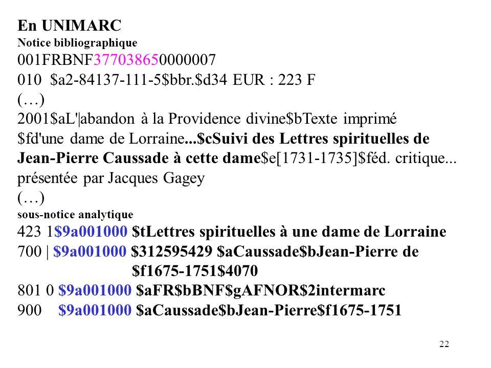 21 En INTERMARC (B) Notice bibliographique 001FRBNF377038650000007 (…) 2451 $aL'|abandon à la Providence divine$dTexte imprimé $fd'une dame de Lorrain