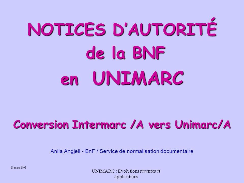 25 Conclusion Le format Unimarc résultant de cette conversion n est pas l Unimarc IFLA et ne peut pas l être. Raison Nous sommes tributaires de notre