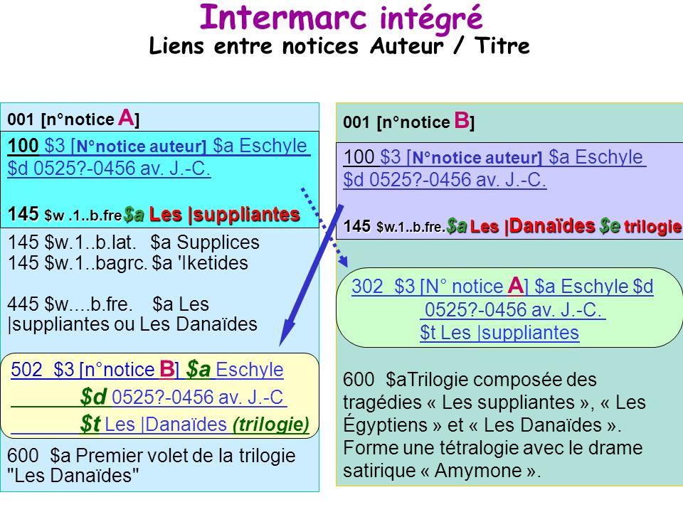 31 Structure dune notice Auteur/Titre en Intermarc intégré 502 $3 [n° de la notice liée] $a Eschyle $d 0525?-0456 av. J.-C $t Les |Danaïdes (trilogie)